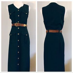 1980s Navy Cargo Safari Belted Midi Dress
